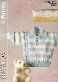 """PDF Knitting Pattern #8356, 8Ply / DK, Sz 16 - 24"""" Striped Sweater with Side Cable by AussieMaria on Etsy"""