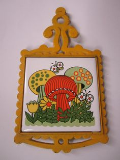 Vintage 1970s Mushroom Trivet - Cast Iron Trivet With Tile - Fun 70s Woodland Decor