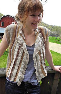 Love the soft ruffle Linen, Wool, Silk by Riverweave, via Flickr