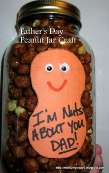 Father's Day Peanut Jar Craft (how cute would this be using your childs footprint as the peanut guy and the little toes as his hair)