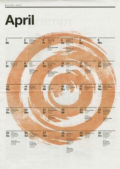 Fabrikzeitung (Rote Fabrik Zurich), Calendar April 2015, illustration by Moreno Tuttobene