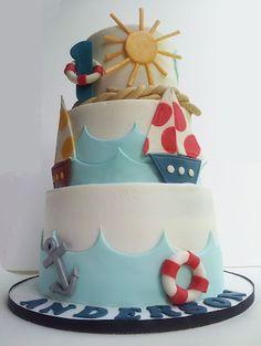 Nautical cake. How cute!