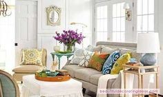 awesome summer living room ideas with grey sofa and white ottoman