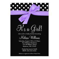 Purple Black Bow Polka Dot Baby Shower Invitations