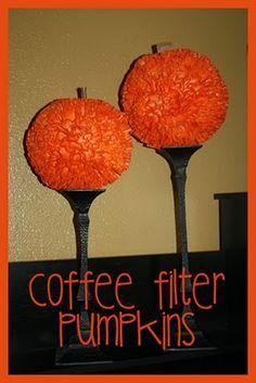 Coffee filter pumpkins