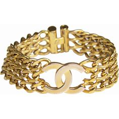 Pre-Owned Chanel CC Chain Link Bracelet in Gold Plating ($425) ❤ liked on Polyvore featuring jewelry, bracelets, gold, multicolor jewelry, vintage jewellery, gold plated jewelry, pre owned jewelry and vintage bangle