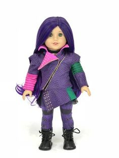 Disney Descendants Mal outfit for American Girl Doll – American Girl Doll Clothes by Rocio American Girl Halloween, American Girl Doll Costumes, American Girl Doll Shoes, Custom American Girl Dolls, American Girl Doll Pictures, American Girl Crafts, American Girl Doll Things, American Girl Accessories, Disney Descendants Mal