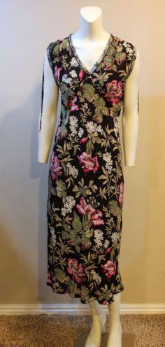 Karen-Kane-Black-Floral-Sleeveless-Dress-100-Silk-Medium-8-10
