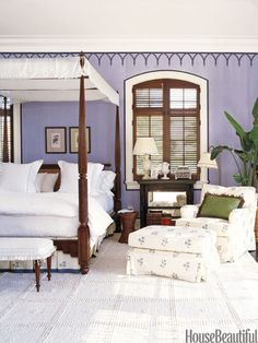 Bedroom Decorating Ideas -A Tropics-Inspired Master Bedroom In a plantation-like master bedroom in a Florida house with a stenciled frieze, antique pier tables are the perfect bedside height for the unusually high British Colonial-style bed; Dream Bedroom, Home Bedroom, Modern Bedroom, Master Bedroom, Bedroom Decor, Bedroom Chair, Master Suite, Bedroom Ideas, Pretty Bedroom