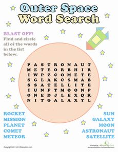 Outer Space Word Search Worksheet