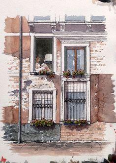 """Girl at a Window"" Venice ~ John Edwards"