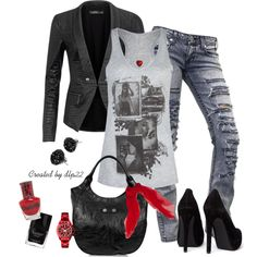 Black, Gray, Red, created by dlp22 on Polyvore