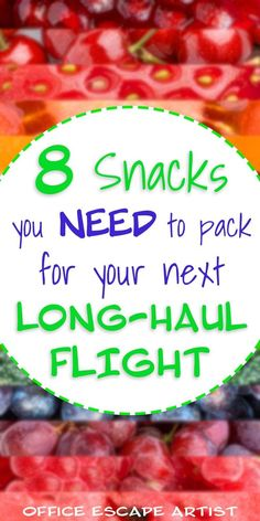 These are the best snacks you need to pack before a long-haul international flight.  Don't take a long flight without being prepared! These snack ideas are delicious & filling and will make it so much easier to survive a long, international flight. | Travel tips | Travel hacks | Long flight tips | How to survive long flights | How to fly to Europe | Travel advice | Best snacks for travel | Travel snacks | Airplane snacks | How to survive long flights in economy |