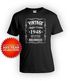 Personalized Birthday Shirt 70th T Gifts For Him Bday Gift Ideas Custom Vintage 1948 Aged Perfectly Mens Tee