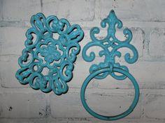 Shabby Chic Bathroom Towel Ring and Soap Dish Combo/ Aqua Blue/ Fleur de lis/ Ornate Bathroom Decor Aqua Bathroom, Bathroom Ideas, Towel Rings, Chic Bathrooms, Aqua Blue, Decorating Your Home, Shabby Chic, Dish, Soap