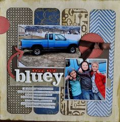 Great general theme scrapbook layout- I want to do something similar to this for a page on my first truck-blue