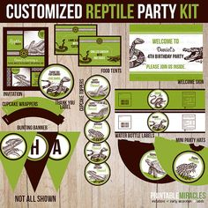 Reptile birthday party invitation reptiles party invitations and reptile party package reptile birthday party kit for boys custom kids reptile party printables filmwisefo Image collections