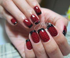 Lattice Red and Black Nail Design.
