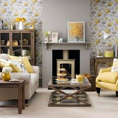 30 Gorgeous Yellow Living Room Color Schemes For Feeling More Comfort Grey And Yellow Living Room, Living Room Accents, Living Room Color Schemes, Living Room Grey, Small Living Rooms, Home And Living, Living Room Designs, Modern Living, Grey Yellow