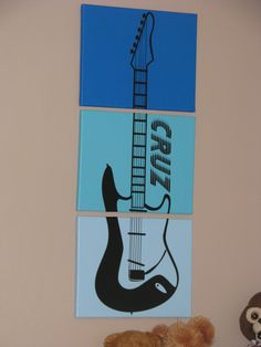 Canvas, paint, vinyl decal, mod podge...DIY guitar, rock 'n roll art for my boy's room! :)