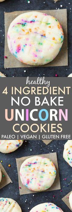 Healthy No Bake Unicorn Cookies V GF DF P no bake cookies inspired by the unicorn frappuccino Ready in 5 minutes vegan gluten free paleo recipe Dessert Sans Gluten, Bon Dessert, Low Carb Dessert, Paleo Dessert, Delicious Desserts, Yummy Food, Awesome Desserts, Tasty, Vegan Baking