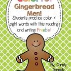 "FREE! This pocket chart activity is great practice for color words and sight words. Students read the sentence ""I see the _____ gingerbread man"" with a d..."