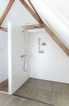 'Minimal Interior Design Inspiration' is a biweekly showcase of some of the most perfectly minimal interior design examples that we've found around the web - Attic Bathroom, Bathroom Interior, Small Bathroom, Attic Shower, Shower Bathroom, Bathroom Ideas, White Bathroom, Shower Drain, Rain Shower