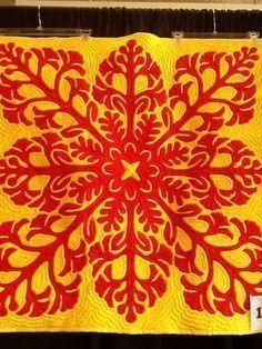 Hawaiian Quilt Patterns, Hawaiian Pattern, Hawaiian Quilts, Hawaiian Art, Orange Quilt, Silky Touch, Custom Quilts, Barn Quilts, Pattern And Decoration