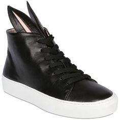 Minna Parikka Women 20mm Bunny Calfskin High Top Sneakers ($335) ❤ liked on Polyvore featuring shoes, sneakers, black, high-top sneakers, black high top shoes, hi tops, calfskin sneakers and rubber sole shoes