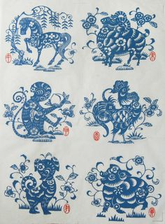 of 12 chinese zodiac animals,Under glaze Decals for ceramic, 10 sheets together,from CHINA. Chinese Design, Chinese Art, Chinese Painting, Chinese Paper Cutting, Pottery Supplies, Chinese Zodiac Signs, Paper Art, At Least, Prints