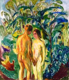 bofransson:  Naked man and Woman in the Woods Edvard Munch - 1919-1925
