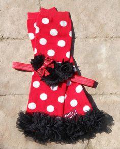Minnie mouse red dot leg warmers with black chiffon ruffles and headband set newborn-toddler-girls
