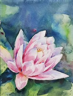 Waterlily : Original Watercolour Painting https://etsy.me/2rFm7R6 #art #painting #waterlily #original #decoration #pink #blue #fresh #watercolour