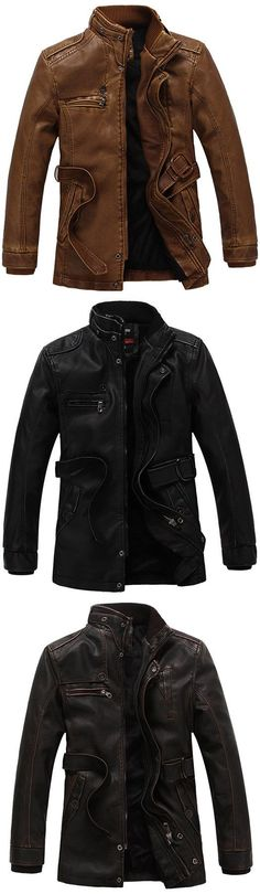 Motorcycle Biker Thicken Stand Collar Multi Pockets PU Leather Jackets