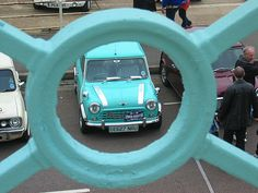 Spotted at the Brighton mini rally. See where this picture was taken. Railings, Brighton, Rally, Turquoise, Adventure, Mini, Car, Automobile, Floating Stairs
