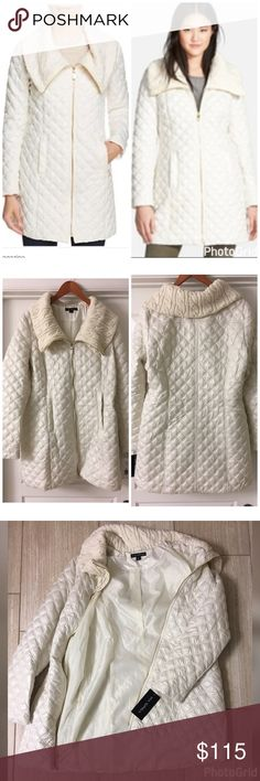 Via Spiga Quilted Puffer Coat New with tags, cable knit collar. Lightweight puffer coat, so nice! Feel free to ask questions! Via Spiga Jackets & Coats Puffers