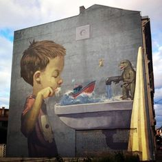 by Etam Cru - mural in Oslo, Norway - For Urban Samtidskunst - street art 3d Street Art, Murals Street Art, Urban Street Art, Amazing Street Art, Art Mural, Street Artists, Urban Art, Graffiti Art, Pintura Graffiti