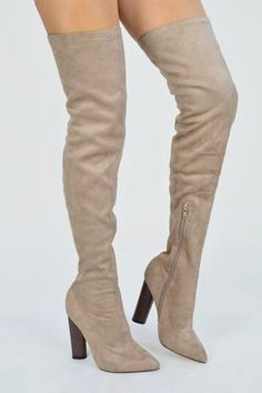 a24c0b7207 JENNER Suede Knee High Boots With Wood Effect Heel - Taupe - AJ Voyage  Above Knee