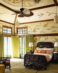 A bedroom from our Asian-inspired project in the Adirondacks #katieridderinc #chinoiserie #adirondacks