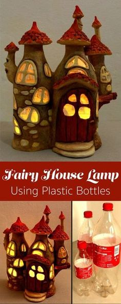 How to make a fairy house lamp using nothing but Coca Cola plastic bottles, tin foil, paint, hot glue, and paper clay. bottle crafts Fairy House Lamp Using Plastic Bottles Fairy Crafts, Fun Crafts, Diy And Crafts, Arts And Crafts, Garden Crafts, Plastic Bottle Crafts, Plastic Bottles, Plastic Bottle Decoration, Coke Bottle Crafts