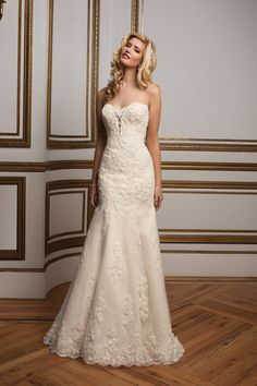 Plunging Sweetheart Fit and Flare Bridal Gown