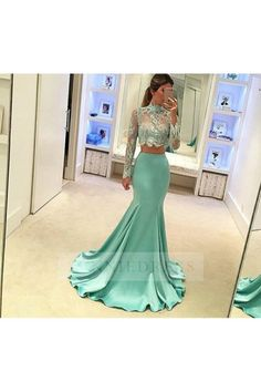Green prom dress,mermaid long sleeves long prom dress,high neck two pieces prom gown,lace beaded evening dress The long prom dresses are fully lined, 4 bones i Long Sleeve Evening Dresses, Prom Dresses Long With Sleeves, Mermaid Evening Dresses, Evening Gowns, Long Dresses, Long Skirts, Maxi Skirts, Sleeve Dresses, Prom Dresses Two Piece