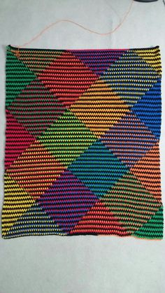 Planned pooling with Red Heart Super Saver in primary stripes