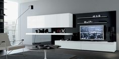 MisuraEmme Modern Style Living Rooms: black white grey stylish contemporary living spaces built ins