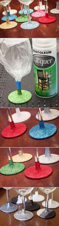DIY Glitter glassware