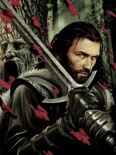 """Eddard Stark by John Picacio. """"Catelyn had never liked this godswood....This was a place of deep silence and brooding shadows, and the gods who lived here had no names. But she knew she would find her husband here tonight. Whenever he took a man's life, afterward he would seek the quiet of the godswood."""""""