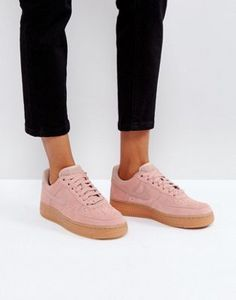 Nike Air Force 1 07 Trainers In Particle Pink Suede With Gum Sole