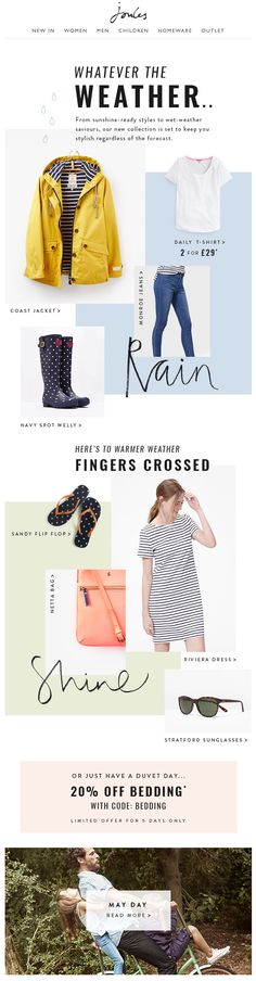 Joules email newsletter - whatever the weather - Composition visuelle Email Layout, Web Layout, Minimal Web Design, Design Design, Lookbook Layout, Email Newsletter Design, Email Design Inspiration, Email Marketing Design, Wordpress