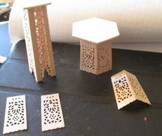 Tutorial for how to make miniature decorative tables for the fancy dollhouse - from dollar store fans - very easy