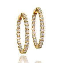 2eb8eb4621d King Jewelers Diamond & Yellow Gold In-Out Hoop Earrings Diamond Hoop  Earrings, Women's